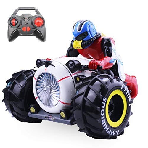 Kaiaki RC Auto High Speed   Spinning Stunt Auto 2.4G Fernbedienung Amphibious Motorrad fährt auf Land & Wasser Fahrzeug Spielzeug für Kinder,Black