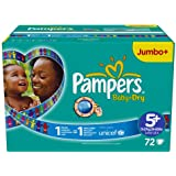 Couches Pampers Baby Dry Taille 5 ainsi que Junior Plus 13-27 kg Plus Pack jumbo, 72 couches