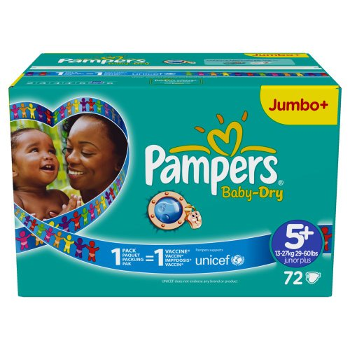 Pampers Baby Dry Windeln Gr.5 plus Junior Plus 13-27 kg Jumbo plus Pack , 72 Stück