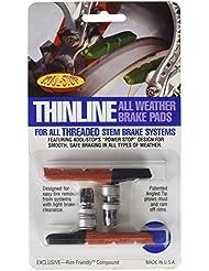Kool Stop Thinline Threaded - Zapatas de freno MTB, color negro / rojo