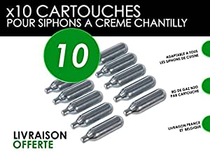 10 Recharges siphon chantilly et espumas - Cartouches N2O universelles pour siphons Whip It/Kayser/Mastrad/Isi/Mosa/Liss/Café Crème