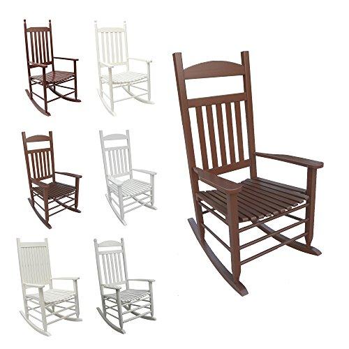 1PLUS SCHAUKELSTUHL Relaxsessel aus Massivholz/Holz - in weiß o. braun - Wippstuhl Rocking Chair Schwingstuhl im Landhausstil (Sina, braun)