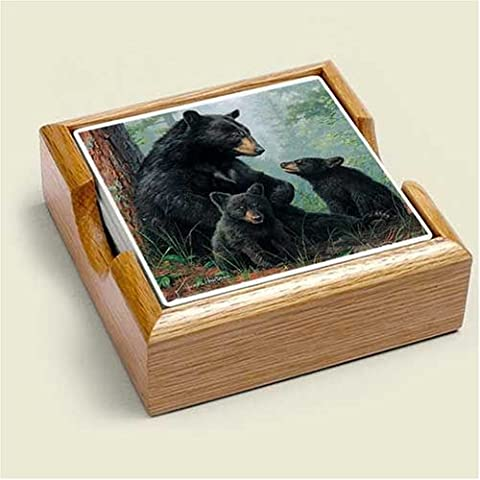 BLACK Bear STONE COASTERS Set 4 In Tray HOME Decor New by Unknown