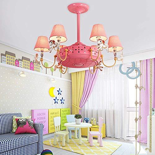YDYG LED-Deckenventilator mit Beleuchtungssatz und Fernbedienung (6 Leuchten) Kinderzimmer LED-Deckenleuchte Modern, Unterputz-Deckenleuchte Dekoration Wohnzimmer Esszimmer (4 ABS-Lamellen),C - Fantasy-bronze-kronleuchter