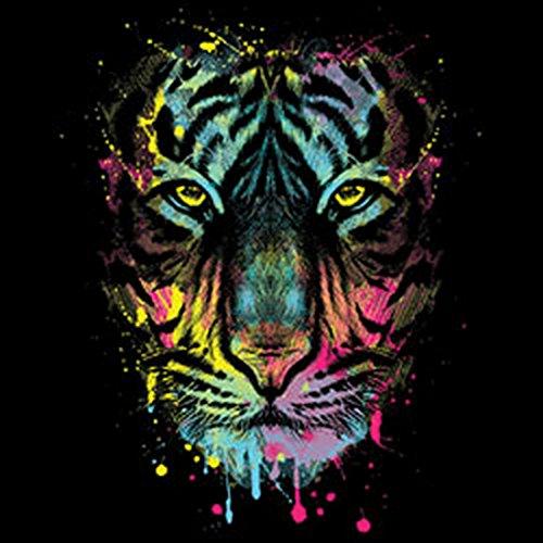 Lady Shirt Neon Tiger Shirt 4 Heroines Girlie T-Shirt Geburtstag Geschenk geil bedruckt Schwarz