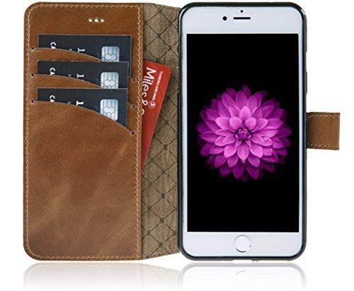 Bouletta Apple iPhone 8 Plus / iPhone 7 Plus Hülle | Leder-Hülle | Premium Handyhülle | Ledertasche | Handytasche | Schutzhülle | Book Cover | Case | Etui mit Kartenfach (Schwarz) Sattel Braun