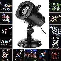 SALCAR Navidad LED Efecto Luz, LED Lámpara de Luces con Motivos 12, Dinámico/estático, 3Niveles de Velocidad, Interior/Exterior IP65