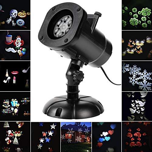 SALCAR Noël Eclairage LED Effet avec 12 Dessins, Dynamique/Statique, 3 Vitesses de Marches, Intérieur/Extérieur IP65, 6 Heures Minuterie, Lumiere De Noël Projecteur, Eclairage de Jardin Décoration