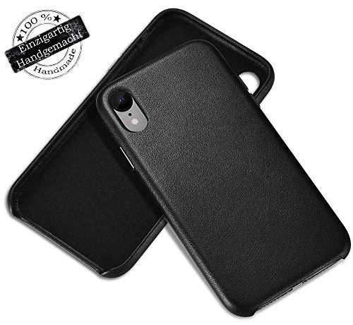 i-Repair® Hülle Echtleder Leder Case kompatibel mit iPhone in schwarz Leather Rückseite Backcover ... (iPhone XR, Schwarz) Schwarz Leder Iphone