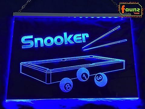"""LED Leuchtschild Werbeschild Reklame Werbung """"Snooker"""" (Billard, Eightball, Club) blau"""