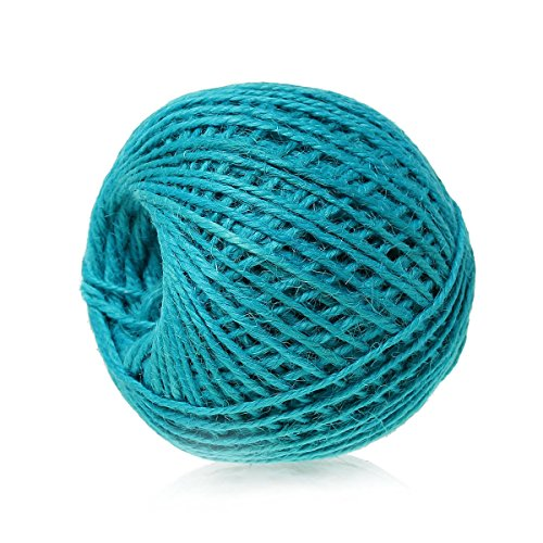 siaura Matériau – 80 m cordon de jute/Ficelle en jute, bleu azur, épaisseur 2 mm
