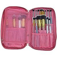 Veewon Pennelli trucco del sacchetto della cassa Premium portatile multifunzione cosmetica Folio trucco della borsa per Cosmetici pennelli di trucco Kit Set (colore rosa)