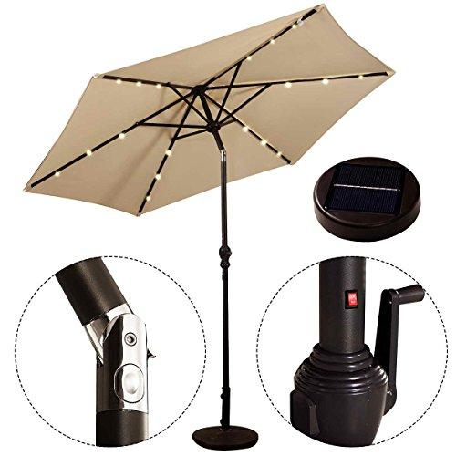 COSTWAY Sonnenschirm mit Solar- LED-Beleuchtung Ampelschirm Gartenschirm Kurbelschirm Strandschirm...