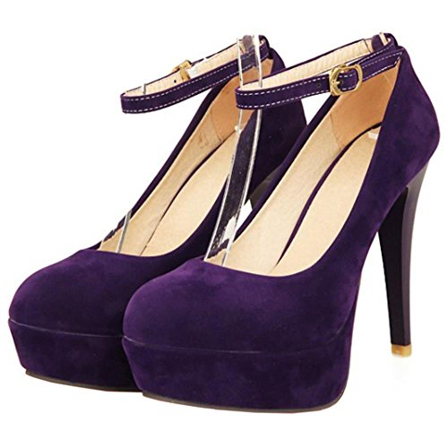 COOLCEPT Damen Fashion Knochelriemchen Stiletto Party Schuh Dress Hohe Ferse Pumps Violett