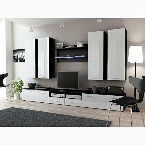 JUSThome Set Dream III Wohnwand Anbauwand Schrankwand Weiß / Weiß Hochglanz