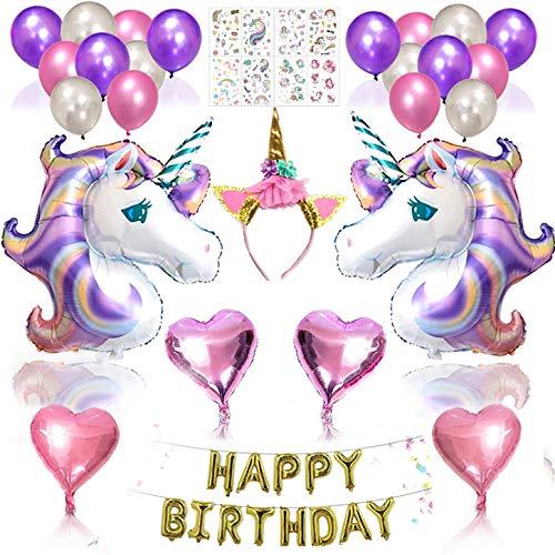 Caleqi palloncini di compleanno decorazione di unicorno party + 8 fogli unicorno tatuaggi temporanei set impermeabile rimovibile per bambini bambino