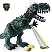 TEMI Electronic Walking Dinosaur with Projection, Flashing Horns and Can Lay Eggs, Jurassic Tyrannosaurus Roars, Moves Mouth and Wags Tail, Battery Powered Robotic T Rex Toy for Kids Boys & Girls 3+