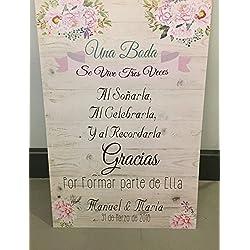 Una boda se vive tres veces - con flores y fondo de madera. Personalizable