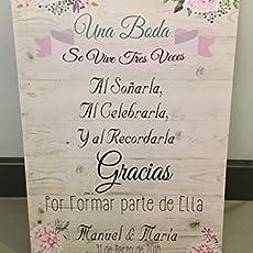 Cartel aqui viene la novia para bodas con forma de corazón ...