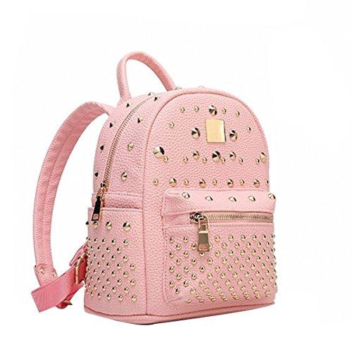 Frauen Art Und Weise Niet College Schulter Rucksack Rucksack Reisetasche Aus Leder Multicolor Pink