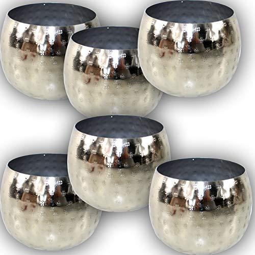 EDLES MAROKKANISCHES WINDLICHT Set Silber - 6 STÜCK in Hammerschlag Optik Orient Schalen Kerzen ~VDs A -
