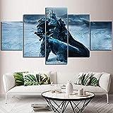 CXDM 5 Stücke Drucke Auf Leinwand World of Warcraft-Poster Giclee HD Wandkunst Modern Wohnzimmer drucken Hauptdekorationen,A,30×50×2+30×70×2+30×80×1
