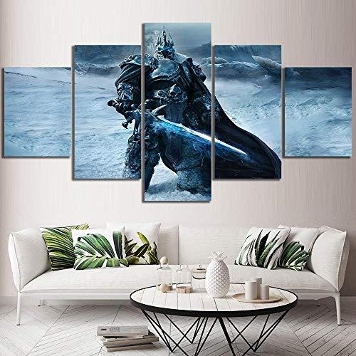 CXDM 5 Stücke Drucke Auf Leinwand World of Warcraft-Poster Giclee HD Wandkunst Modern Wohnzimmer drucken Hauptdekorationen,A,30×50×2+30×70×2+30×80×1 -