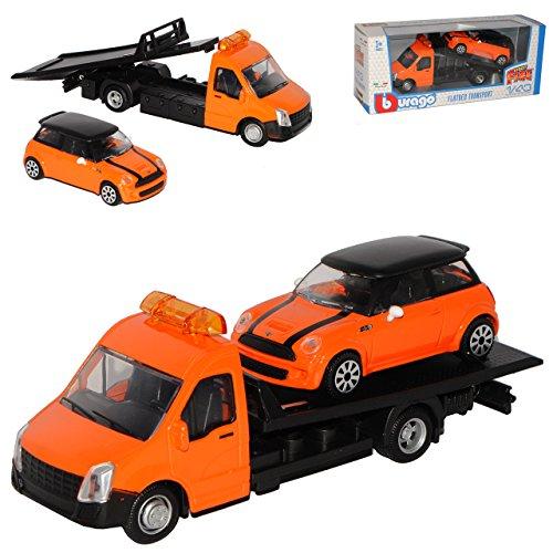 Bburago Autotransporter mit Mini Cooper S Orange Schwarz Dach R56 2006-2014 1/43 Modell Auto
