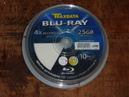 10Traxdata DVD Disque Vierge Blu-ray BD-R 25Go imprimable