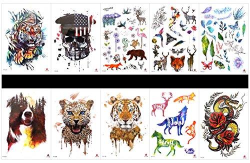 Grasshine 10pcs Tätowierungtiger Tattoos in einem Paket, einschließlich Pferd, Drache mit Blumen, Blume, Tiger, Schädel, Wolf, Leopard, Rotwild, Schmetterling, Blätter, usw.