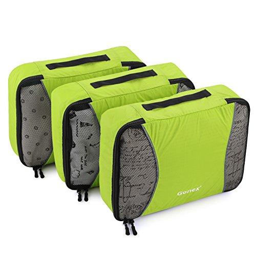 Gonex Kit de Organisateur Valise Sacs de Rangement Cube Housse Vetement Voyage (C-Vert 3 unités)
