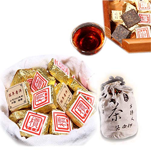 Chinese Pu'er Tea Ripe Puer Tea Black Tea Small Square Brick Tea Old Pu-erh Tea Cooked Tea Old Trees Pu erh Tea Health Care Pu er Tea Healthy Puerh Tea Red Tea Green Good (500)