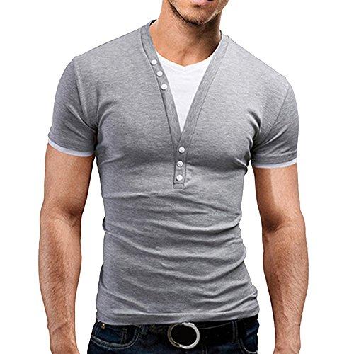 Rera Herren Sommer 2 in 1 Basic T-Shirt mit V Ausschnitt Slim Fit Kurzarmshirt Farbe Patchwork Casual Tee Sweatshirt Oberteile Tops (Hellgrau, L)