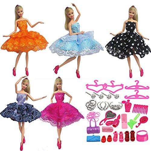 Juguetes vestidos de fiesta trajes ropa de Muñecas muñecas accesorios Kit 5 piezas elegante chica+ 42 PCS ropa accesorios para Barbie juguetes niños niñas regalo de cumpleaños