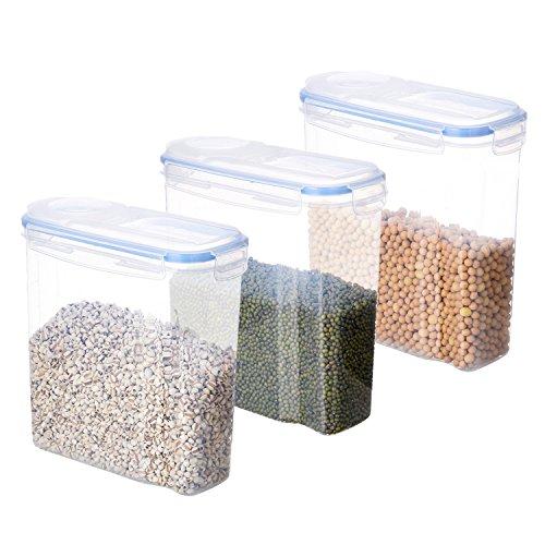 SAVORLIVING Vorratsbehälter Plastik Vorratsdose mit Deckel Luftdicht Transparent Frischhaltedosen Müslidosen Schüttdosen Aufbewahrungsboxen für Mikrowelle Gefrierschrank, Cereal Container Set(3 X 4L)