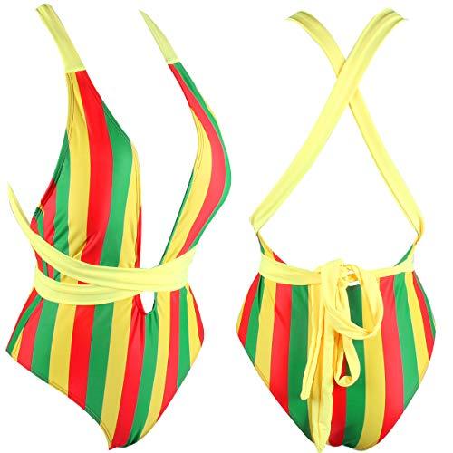 VOARYISA Damen Einteiler Karibik Flagge Rasta Body Shaping Monokini Badeanzug Badeanzug Badeanzug - Braun - 38 DE/40 DE (M) - 3