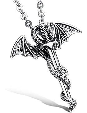 MESE London Drache Mit Schwert Halskette Silber Kette Edelstahl-Anhänger - Elegante Geschenkbox
