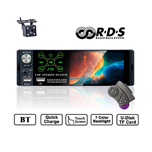 TOYOUSONIC Radio del Coche 1 DIN 4.1 Pulgadas Pantalla Táctil Autoradio Bluetooth Llamadas Manos Libres MP5 FM/Am/RDS USB con Cámara de Visión Trasera Control Remoto del Volante