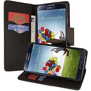 VCOMP® Samsung Galaxy S4 i9500/ i9505/ Value Edition I9515: Etui portefeuille cuir PU effet tissu Livre rabat support vidéo - NOIR