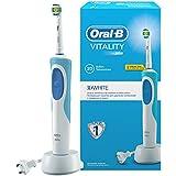 Oral-B Vitality White & Clean - Cepillo de dientes eléctrico con tecnología Braun, blanco y azul