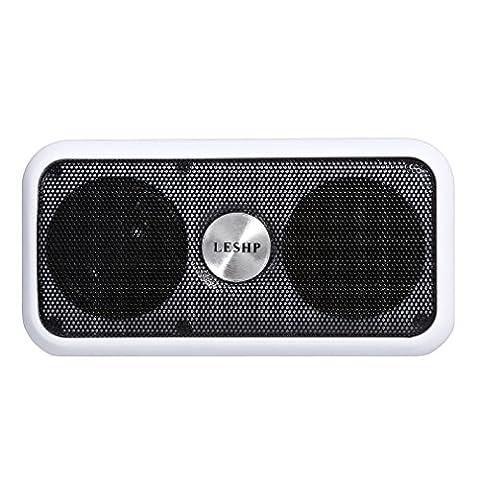 LESHP Enceintes Portable Bluetooth sans fil Haut-parleur Banque de Puissance 2600mAH FM recherche Automatique avec carte TF Appels mains libres taille compacte (Balnc)
