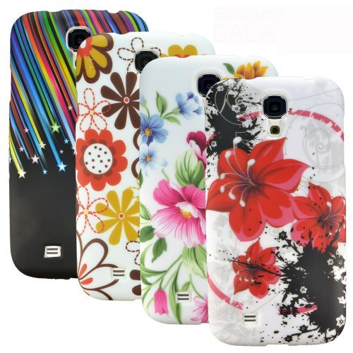 Image of zkiosk set of 4 Silicone Gel Protective Case Samsung Galaxy S4 i9600 design selection 6 Flowers star lily (red/white/black/green/pink/brown)