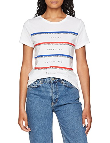 ONLY Damen T-Shirt onlKITA S/S Riviera TOP Box JRS Weiß (Bright White Print: Meet1) 36 (Herstellergröße: S)