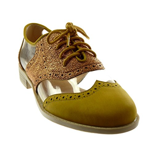 Angkorly Damen Schuhe Derby-Schuh - Bi-Material - Transparent - Perforiert - Glänzende Blockabsatz 2.5 cm Senffarbe