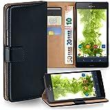 moex Sony Xperia Z3 Compact | Hülle Schwarz mit Karten-Fach 360° Book Klapp-Hülle Handytasche Kunst-Leder Handyhülle für Sony Xperia Z3 Compact / Z3 Mini Case Flip Cover Schutzhülle Tasche