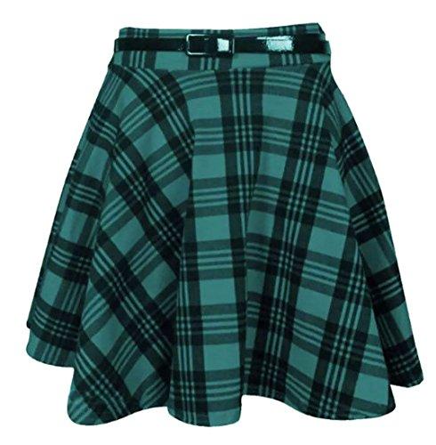 femmes neuf tartan à carreaux imprimé DAMES Court Mini fin Détachable Taille Jupe évasée ceinture patineuse plissée rouge jupe Green Tartan Print