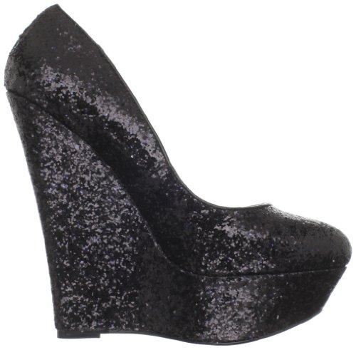 Pleaser Day & Night LUSTER-20 Damen Plateau Wedges Blk Glitter