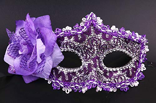 UyeFS-Masquerade Mask Gold Prinzessin Prinzessin Fem Maske Halloween Maske Kostüm Make-up Maske (Size : Purple) (Paare Kostüm Zum Verkauf)