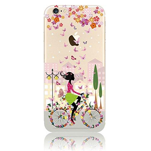 """Coque iPhone 7 4.7"""" Ultra-Mince Silicone TPU Gel Transparent Souple Etui Housse Sunroyal® Apple iPhone 7 (4.7 Pouces) Case de Protection Spécial Back Cover Anti-Choc Bumper - Fleur Violet Motif 07"""