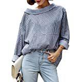 FEITONG Moda de otoño Mujeres Rayado Azul Camisa de Manga Larga (XL, Azul)